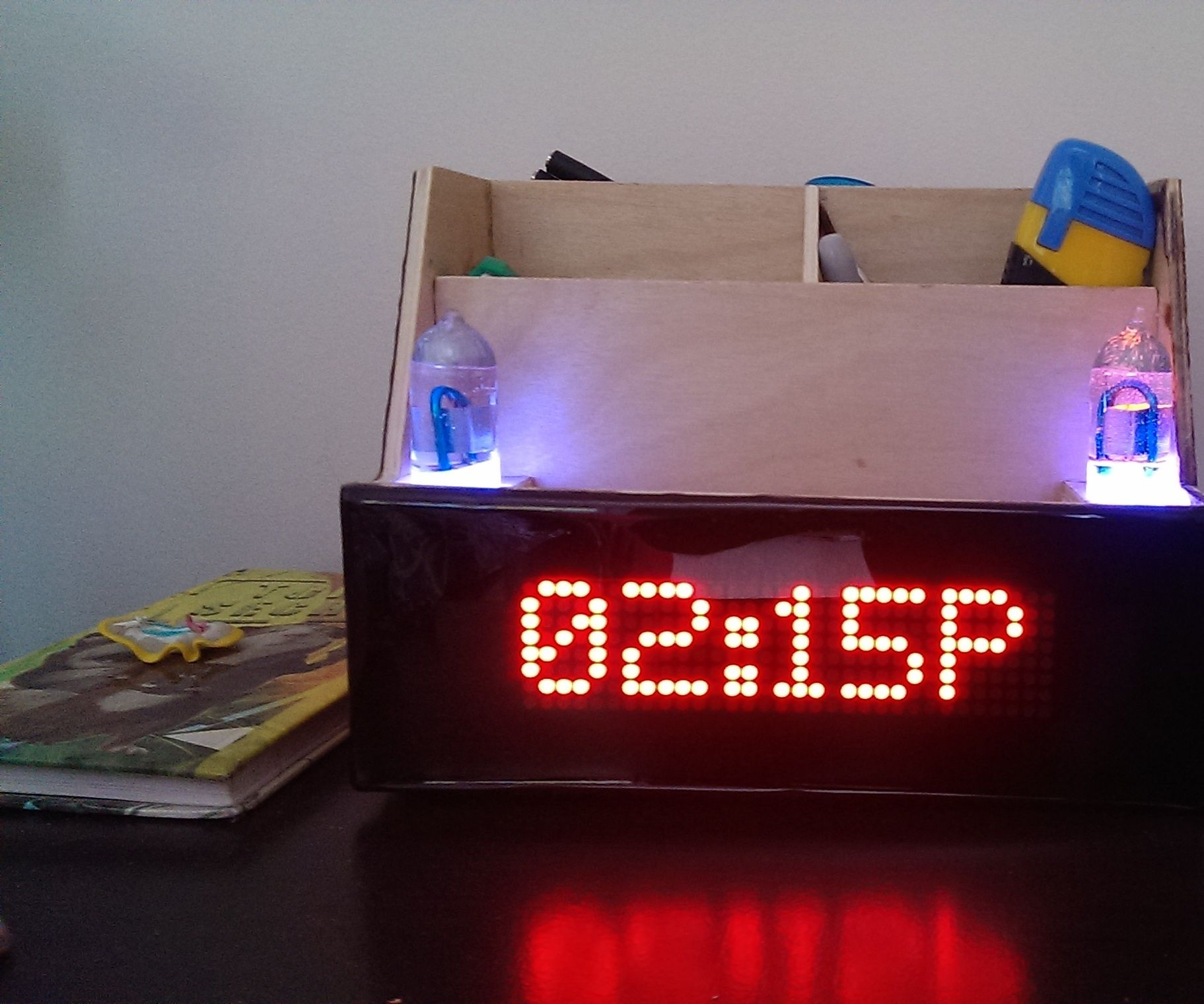 Desk Organizer With LED Matrix Clock and Bluetooth
