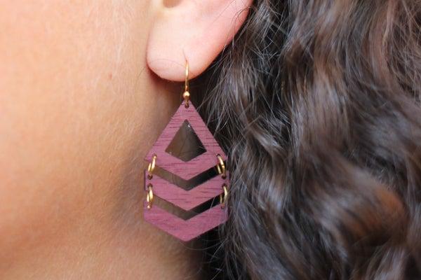 Laser Cut Wooden Chevron Earrings