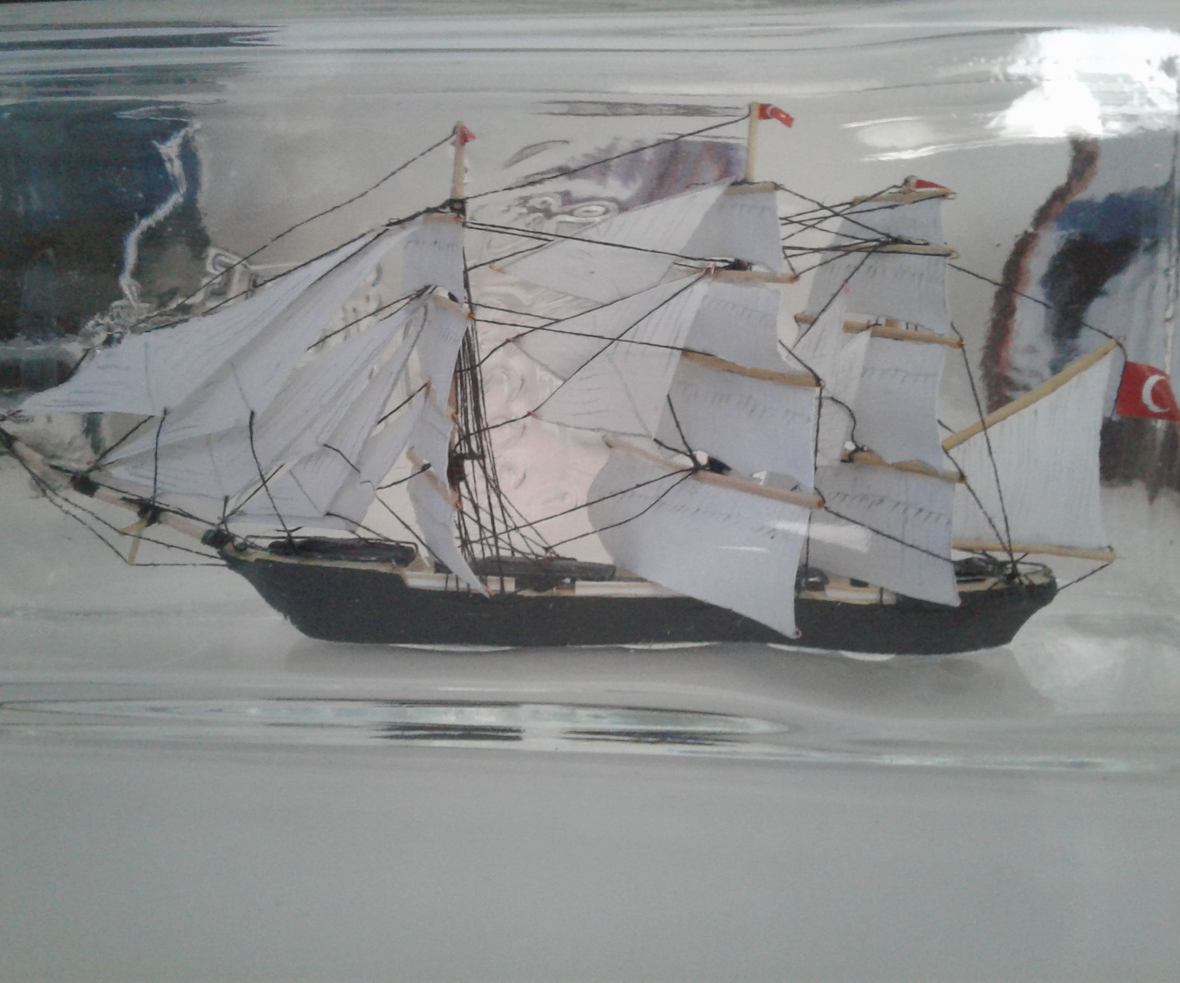 Ship in a Bottle. Full Rigged Ship