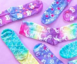 Colorful Neon Tie-Dye Grip Socks