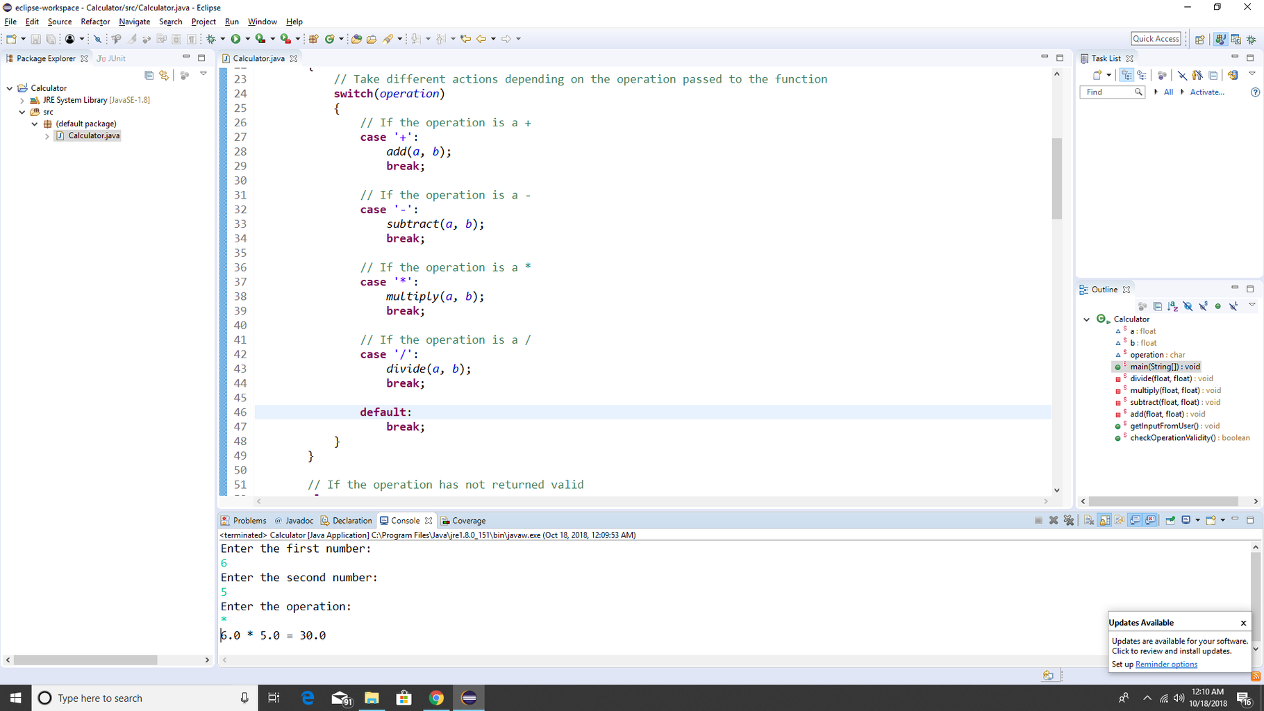 Step 7: Decide What Method to Use Based on the Operator Chosen by the User