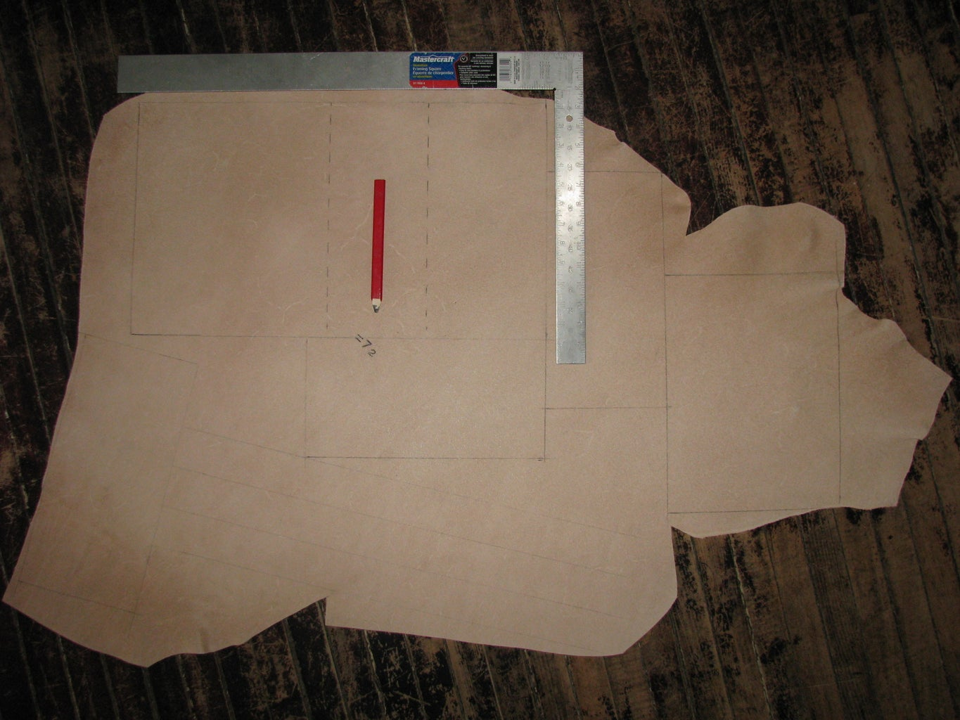 Obtain Material From Tandy Leather and Mark Pieces for Cutting