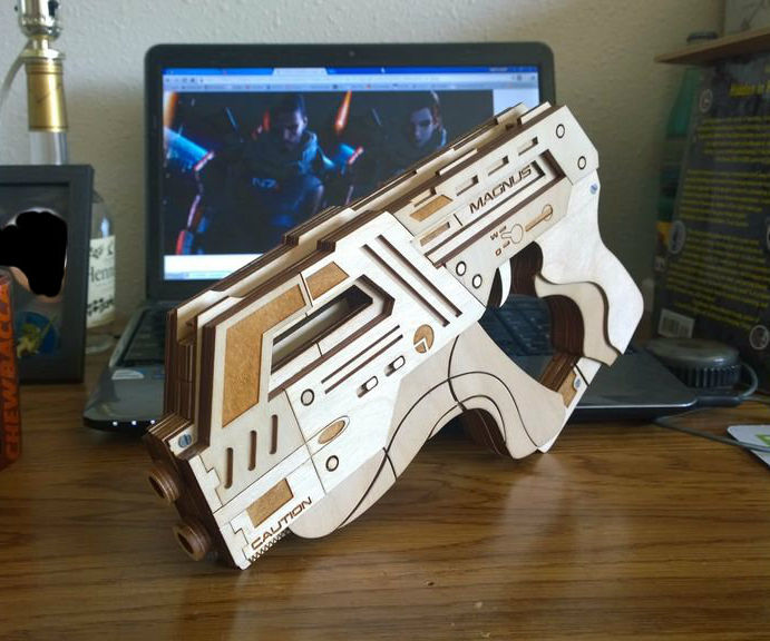 Laser Cut M-6 Carnifex Rubber Band Gun from Mass Effect