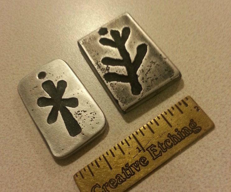 Simple Etched Aluminum Pendant