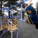 Kid's Zipline With Playhouse