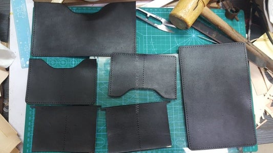 Cut All Leather Pieces Use Acrylic Pattern and Punch Stitching Holes.
