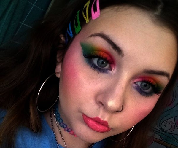 Full Face of Makeup With Rainbow Eyeshadow