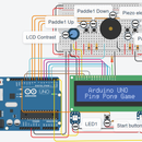 Autodesk Tinkercad Simulation of Arduino UNO Ping Pong Game V2.0: