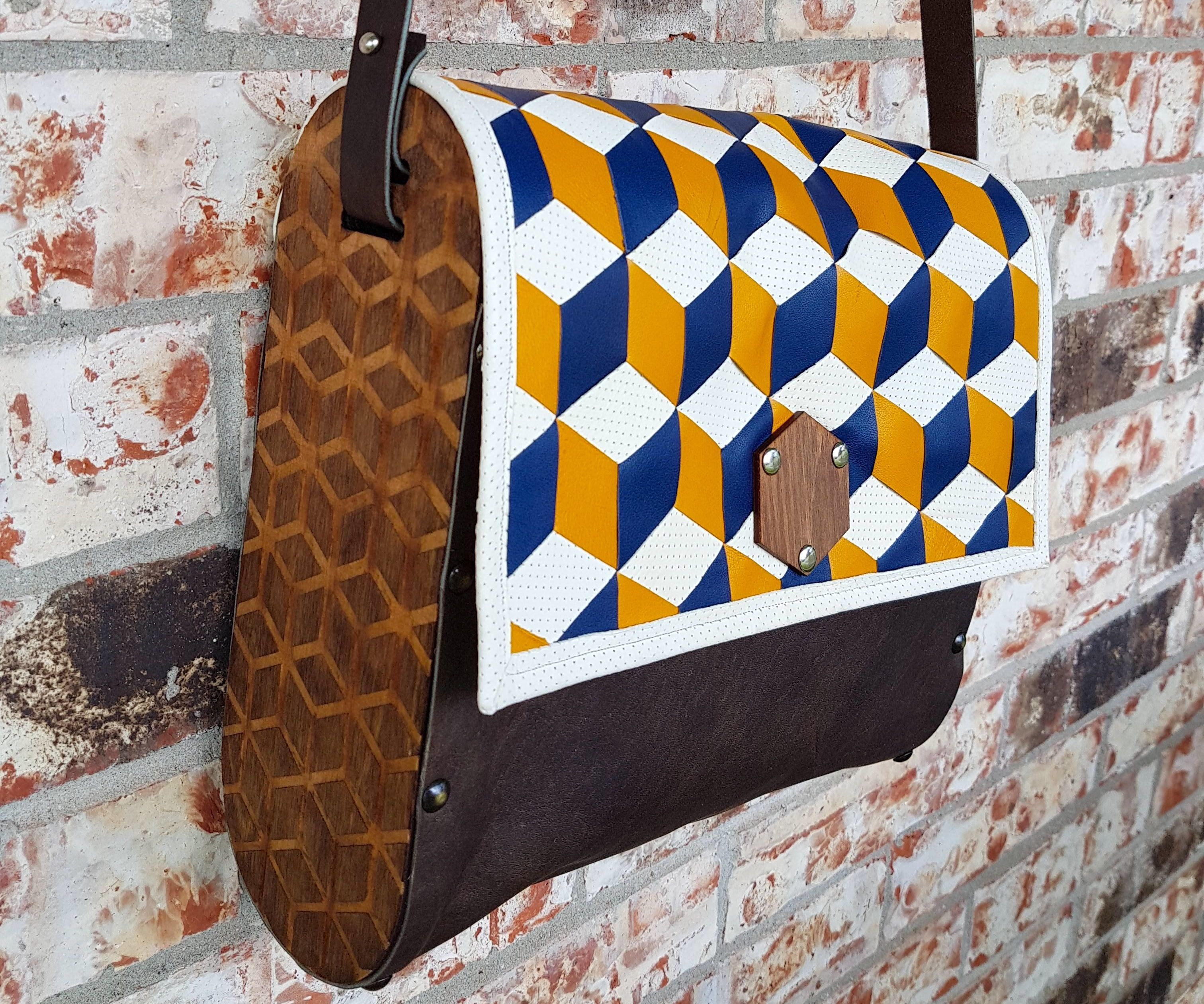 Woven Leather and Wood Bag