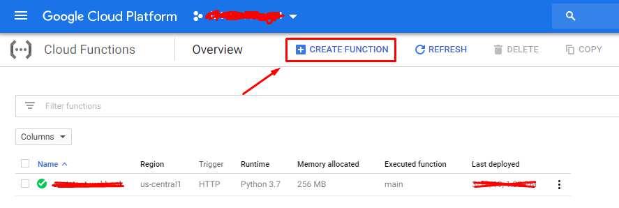 Google Cloud Functions - Create Function: