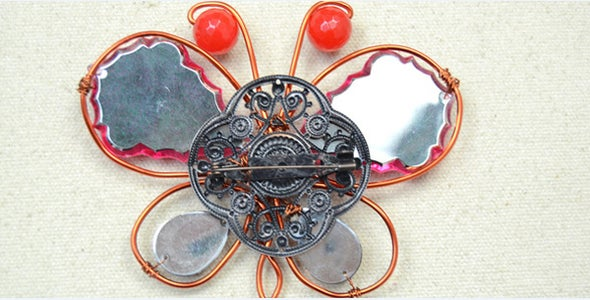 Attach Iron Brooch Finding to the Butterfly