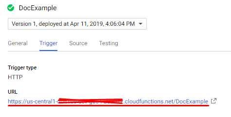 Dialogflow - Cloud Function URL
