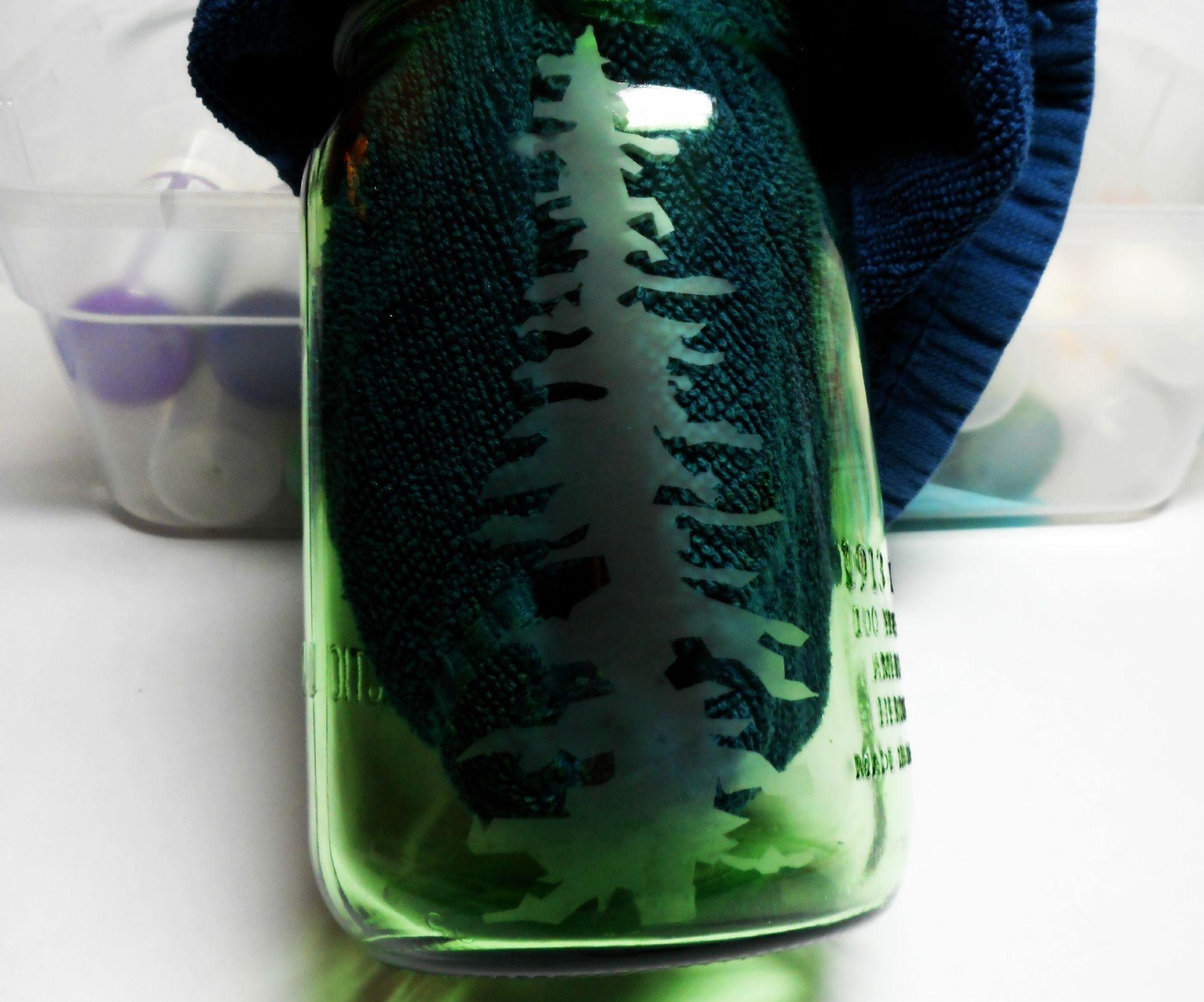 Hand Etched Redwood Tree Mason Jar