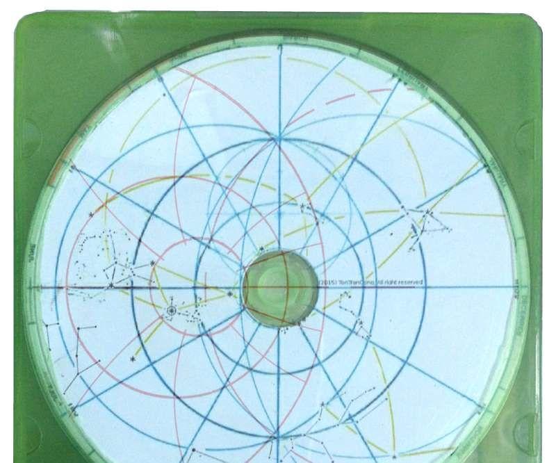 Slide-Sky-Disks with grid masks showing azimuths and altitudes.