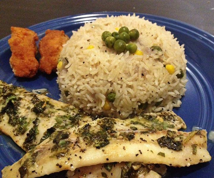 Lemon Butter Baked Tilapia with Fragrant Butter Rice