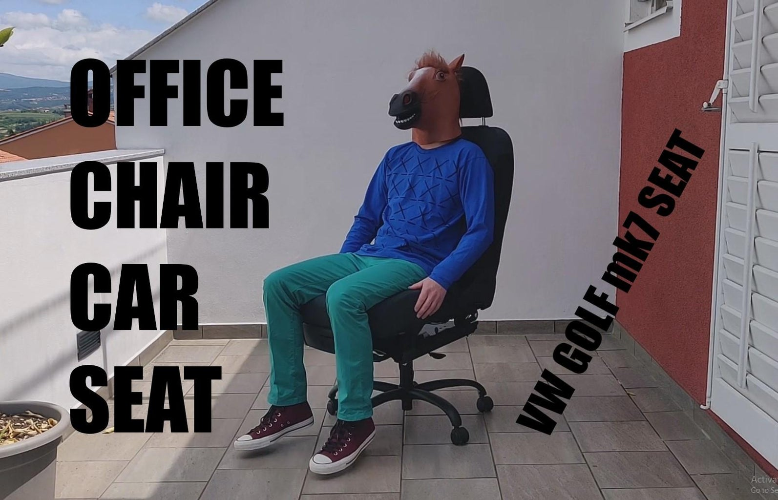 VW CAR SEAT = DIY OFFICE CHAIR