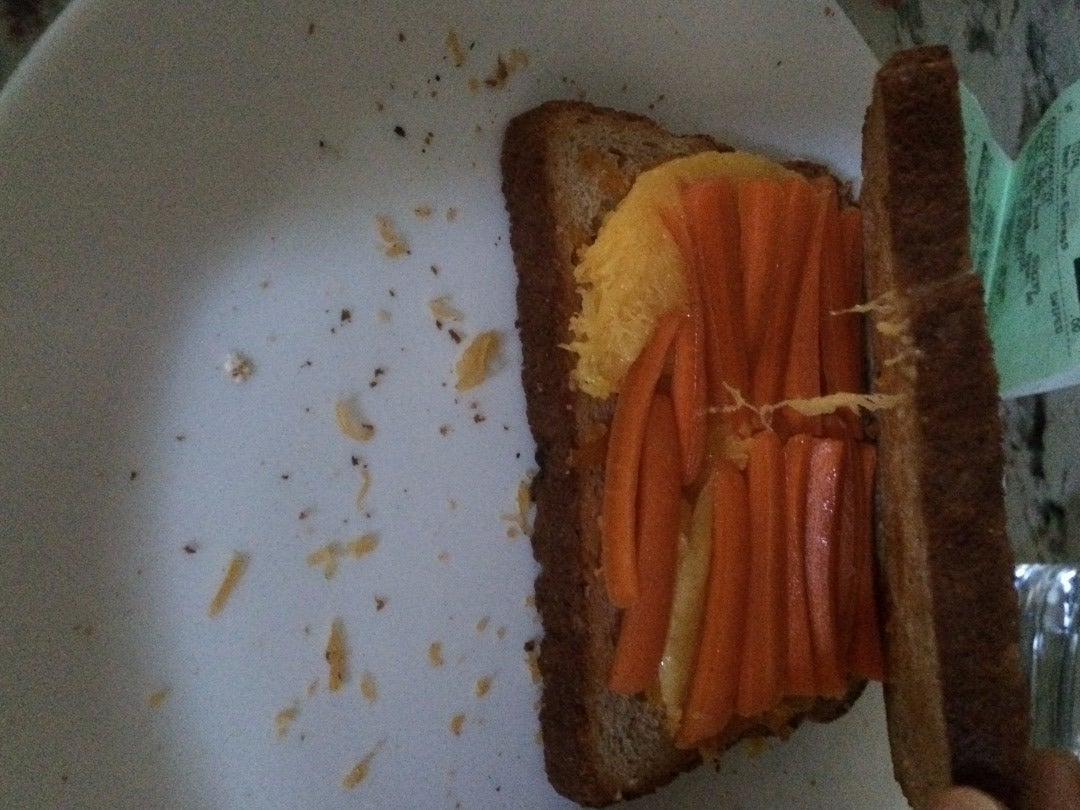 Cut the Baby Carrots Then Lay Them on Top of the Mangoes on the Sandwich