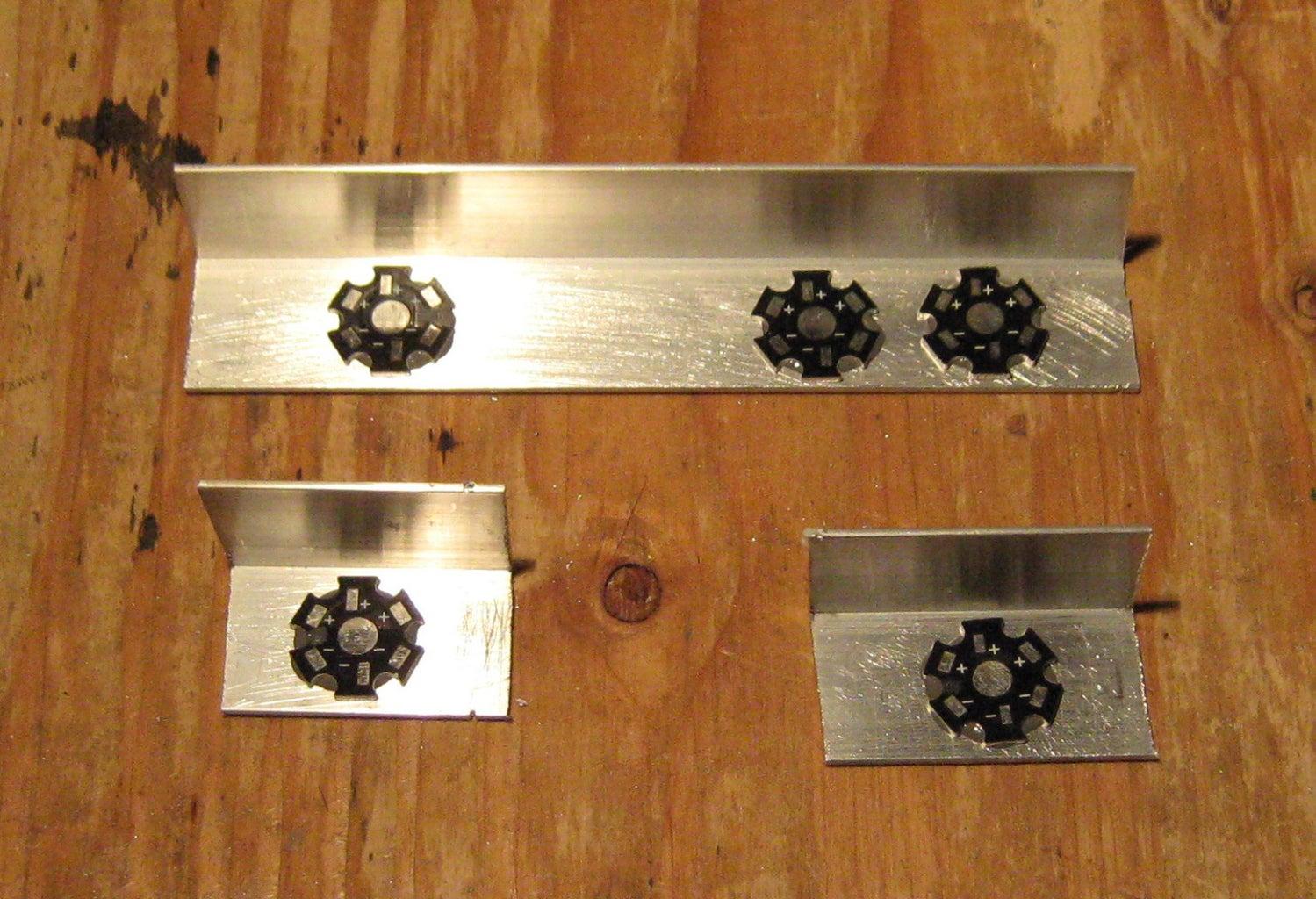 Glue LEDs to the Aluminum Bars With Slow Setting Epoxy