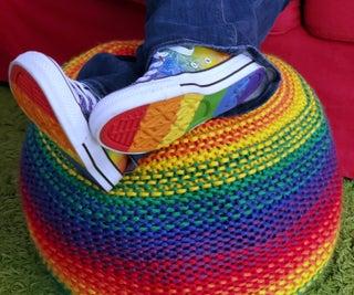 Knit Rainbow Pouf