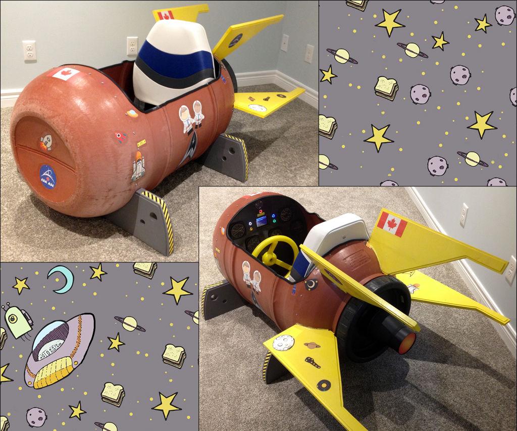 MoonPi, the Rain Barrel Kids Play Rocket