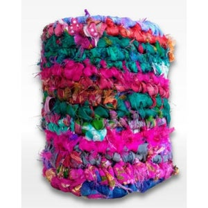 Mason Jar Covers Crocheted From Recycled Sari Silk Ribbon