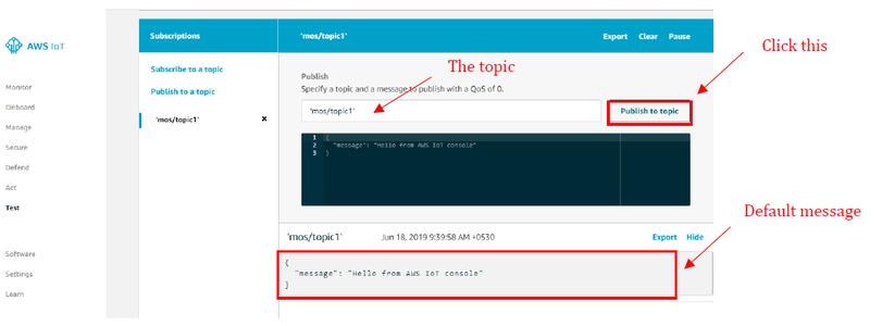 Publishing the Default Message