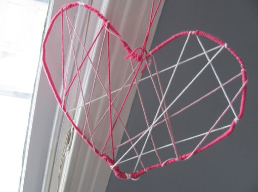 Valentine Ornaments Made With Yarn and Wire