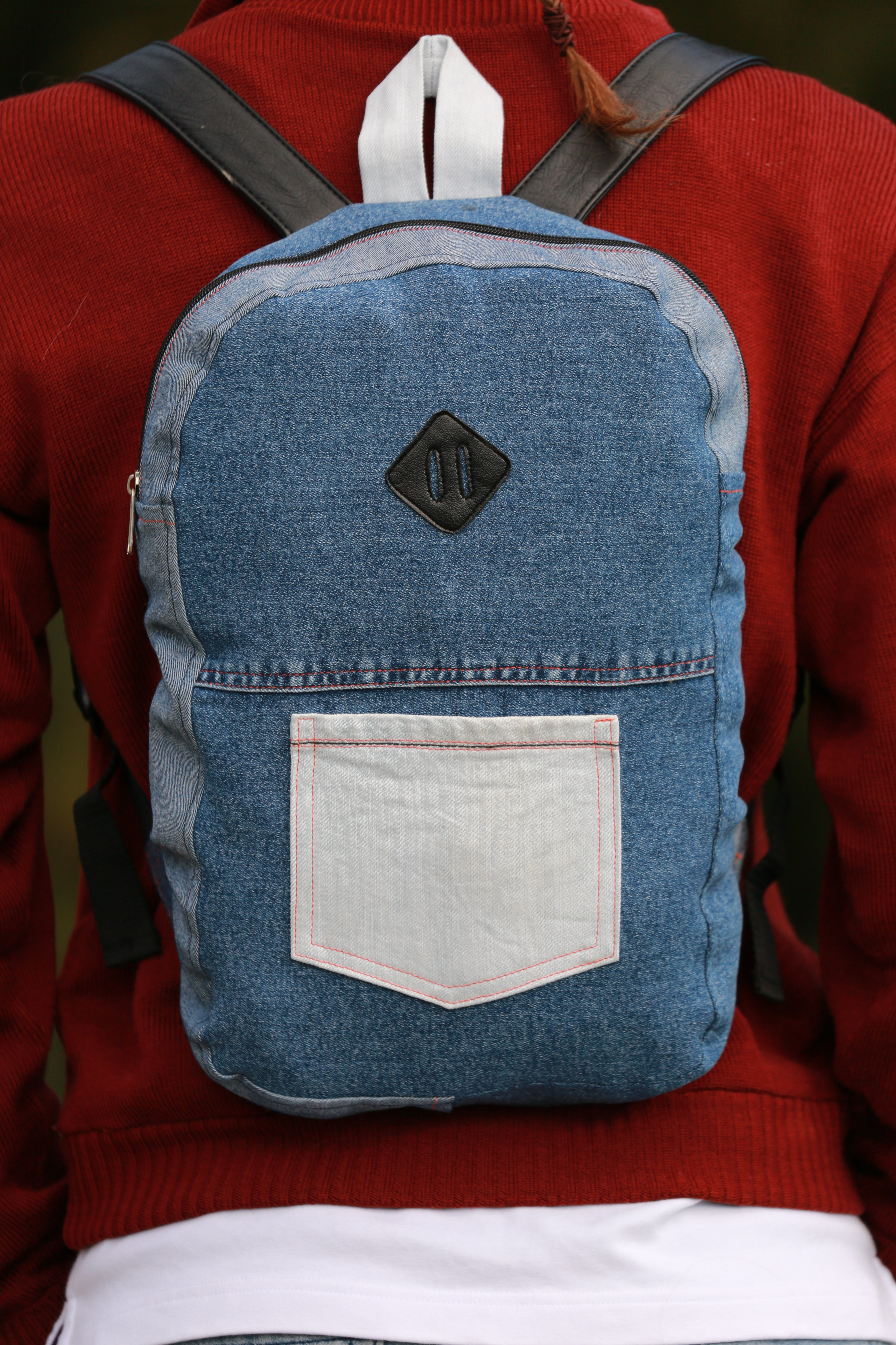 Recycled jeans backpack Orange