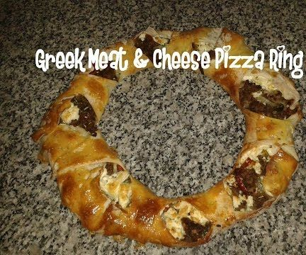 Greek Meat & Cheese Pizza Ring Recipe