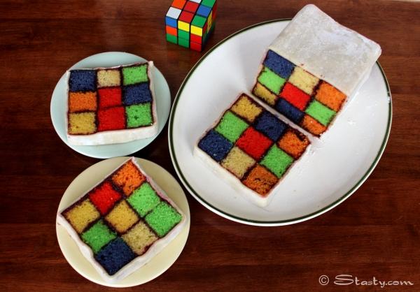 Rubik's Battenburg Cake