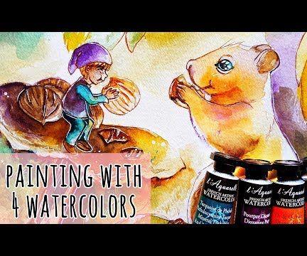 4 Watercolour Painting - Autumn Friends