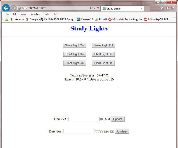 Web Enabled Lazy Study Lights Controller