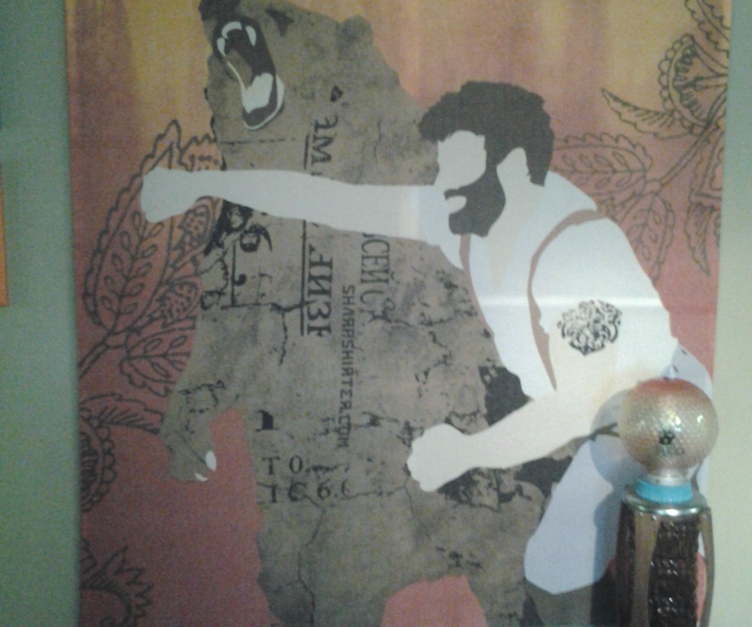 awesome 5'x5' giant art from shower curtain
