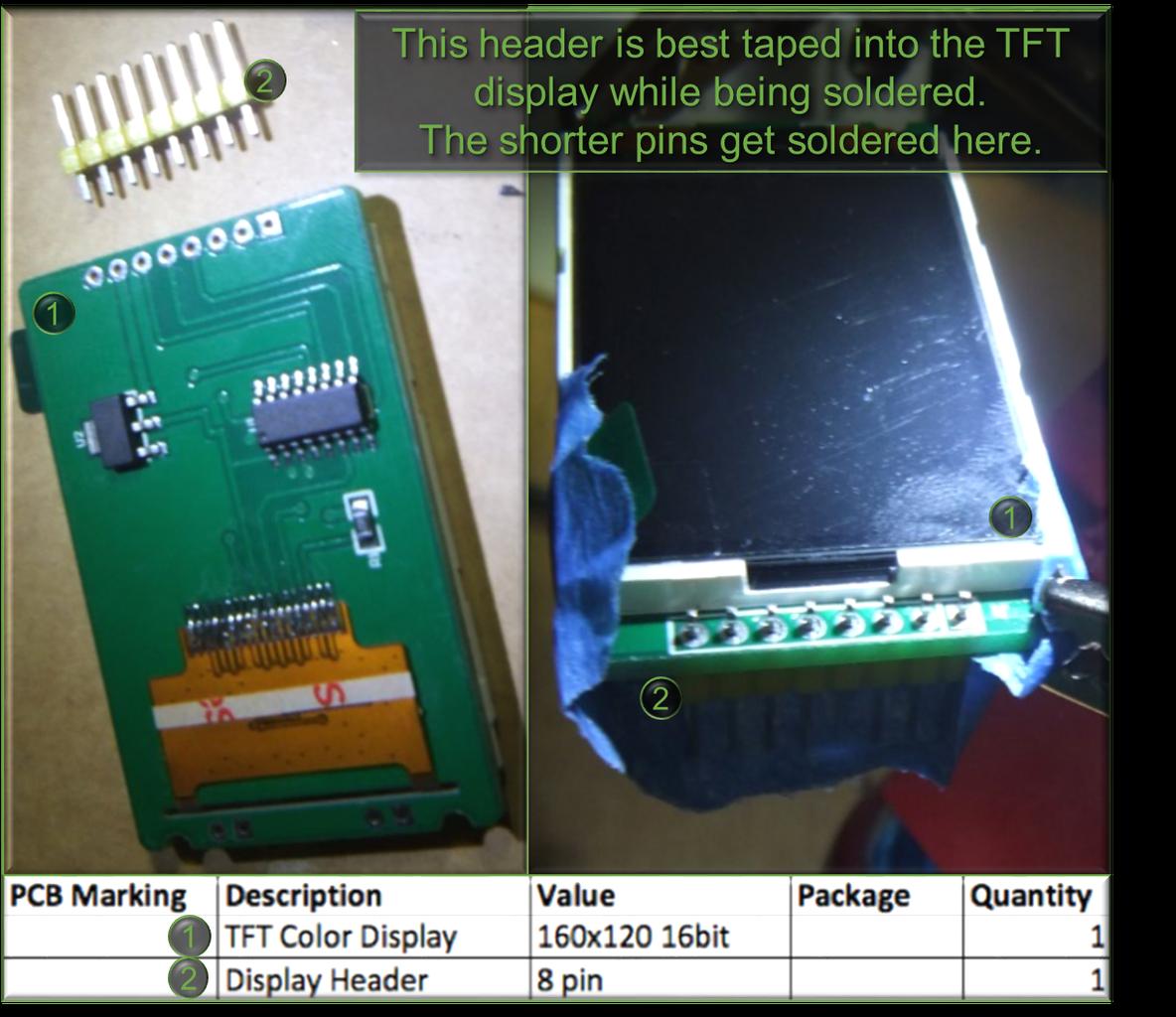 5.6 the TFT Color Display (160x120) 16bit