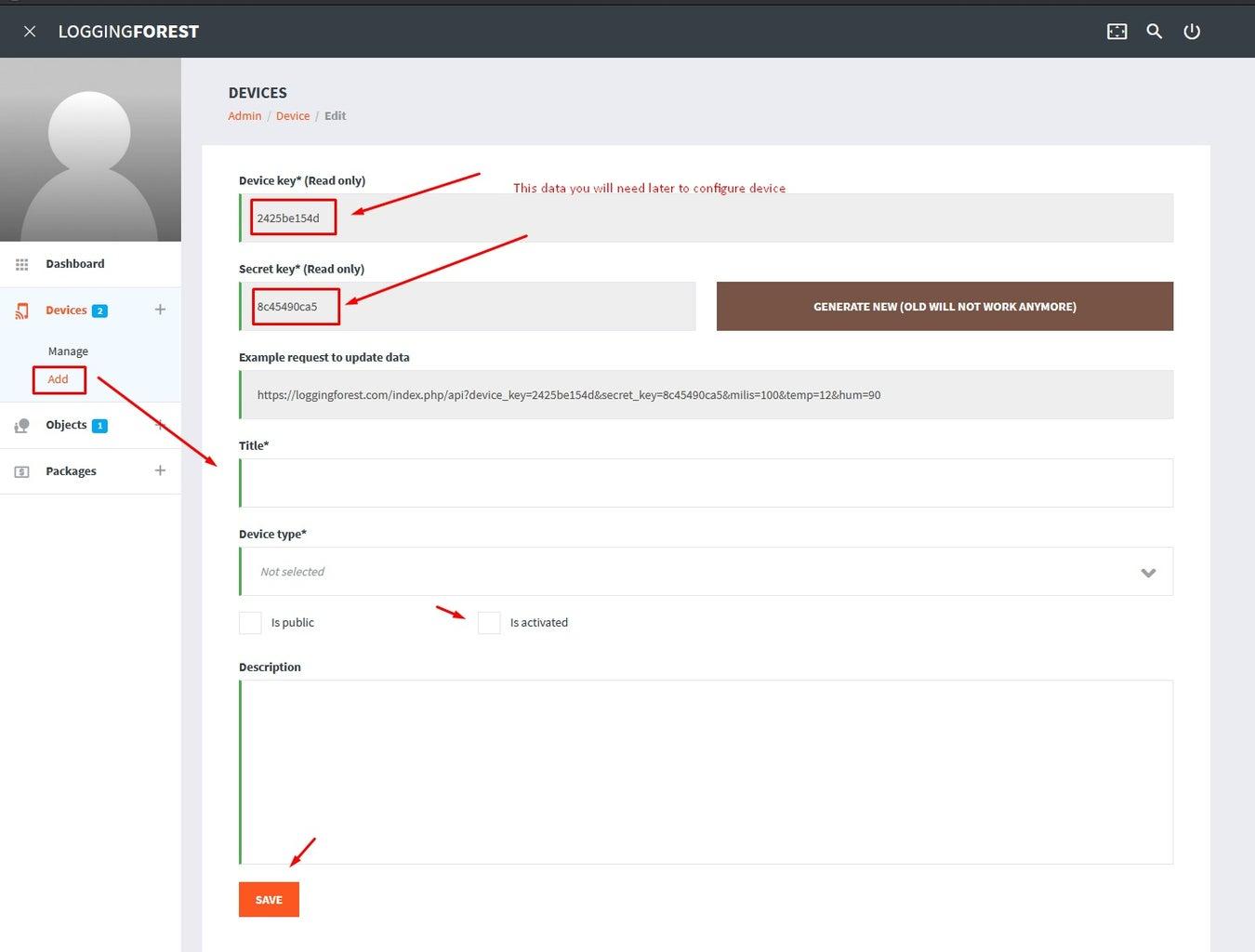 Add Your Device to LoggingPlatform