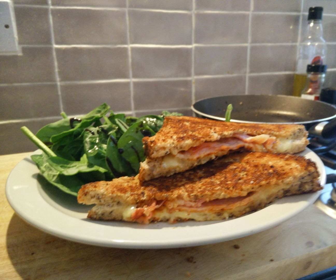 Quick spicy bacon grilled cheese