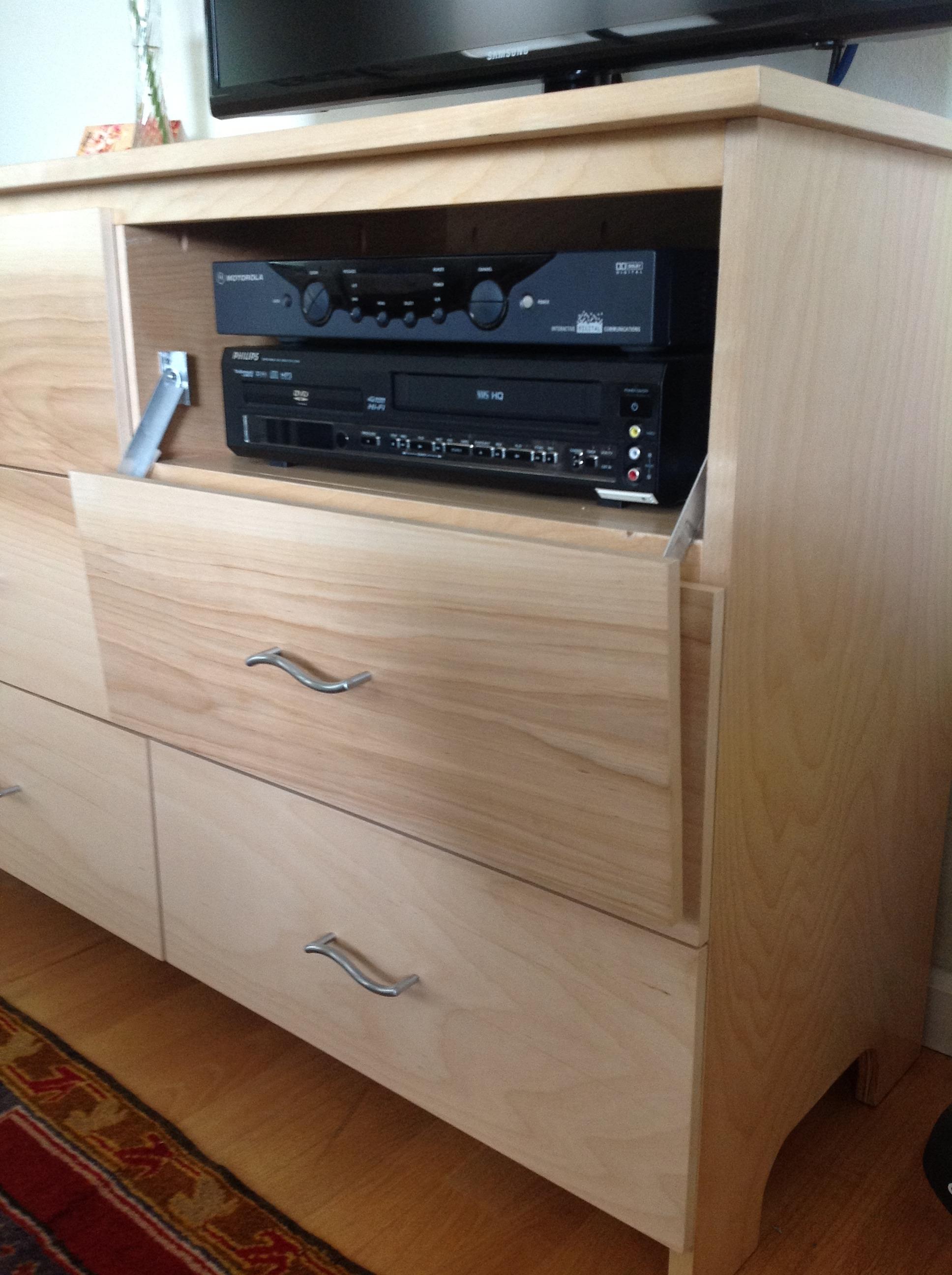 Convert a dresser drawer to an electonics bay with a drop-down door