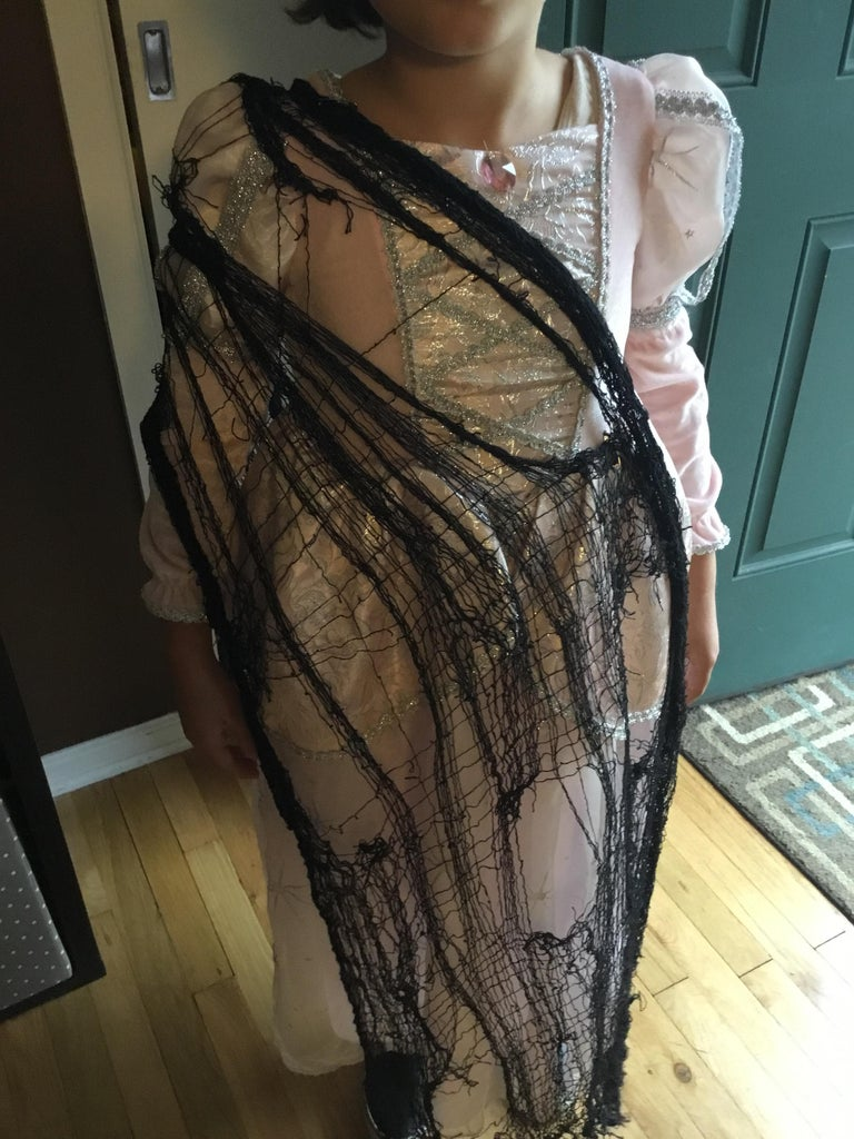 Drape the Black Mesh Fabric Over the Dress to Your Liking and Secure With Safety Pins