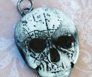 Stamped Clay Skull Pendant