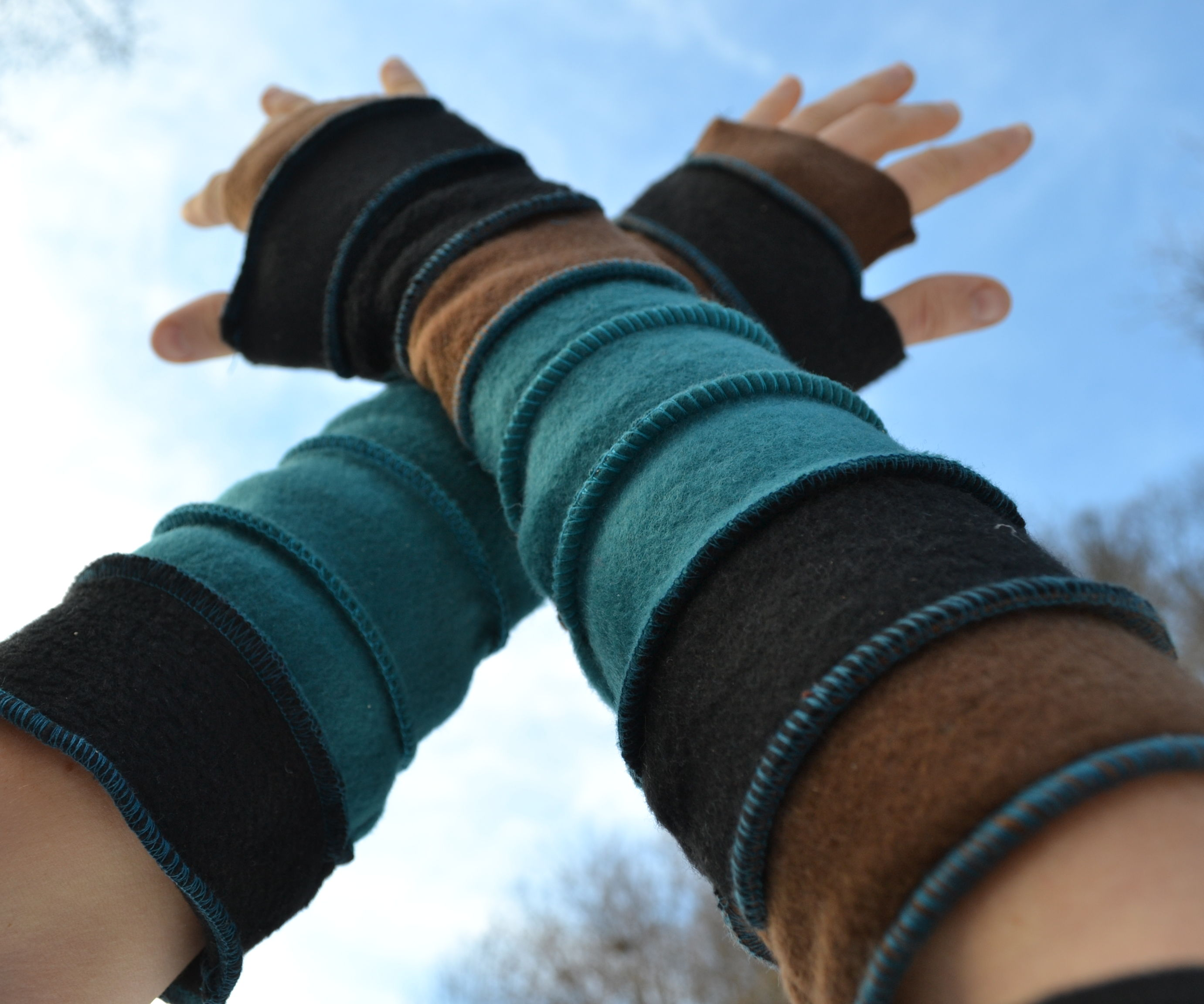 color stripe hand warmers