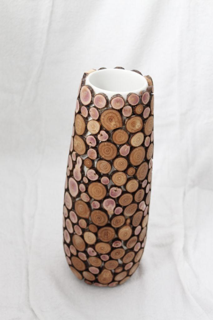 Wooden mosaic vase