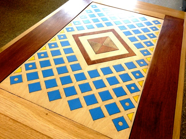 Hardwood Table With Laser Cut Inlay