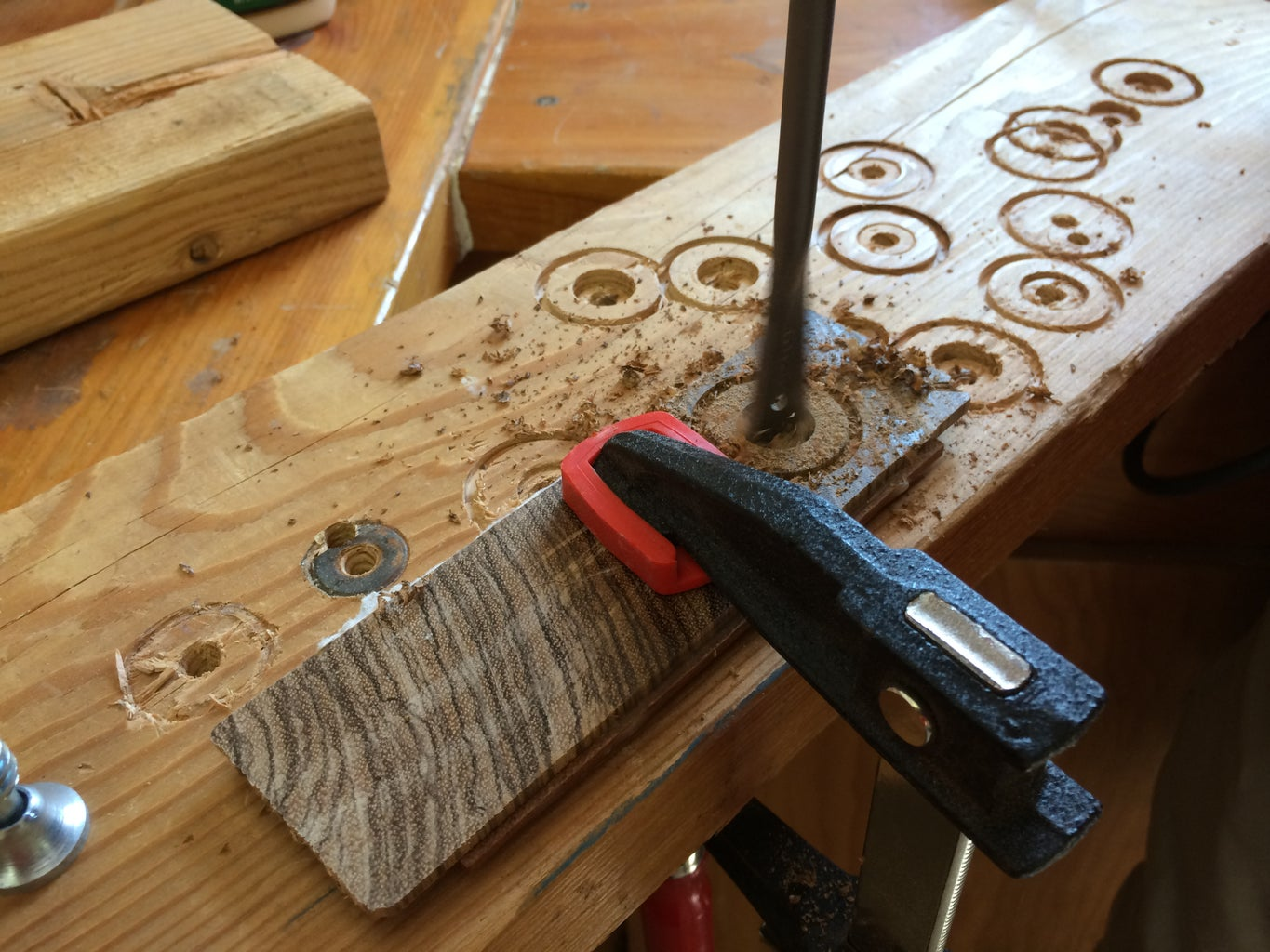 Cutting a Rough Ring From the Glued Wood