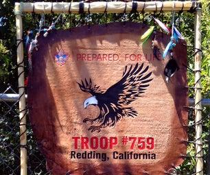 Handmade Boy Scout Troop Flag - Leather & Wood