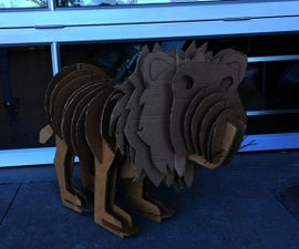 Recycled Cardboard Lion Sculpture