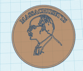 Add Circular Text to Coin in Tinkercad.
