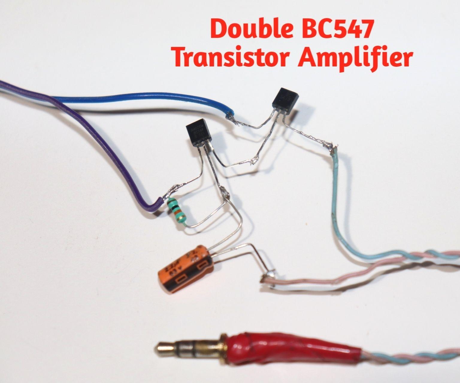 BC547 Double Transistor Audio Amplifier