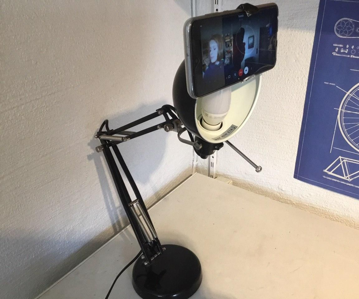 Swing Arm Lamp Phone Mount for Video Calls