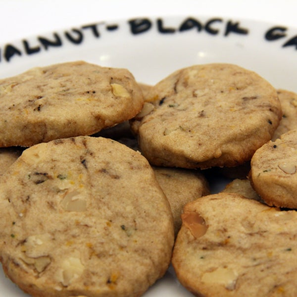 Orange Cookies With Fresh Mint and Black Garlic