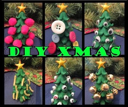 Polymer Clay Christmas Tree With Hanging Ornaments